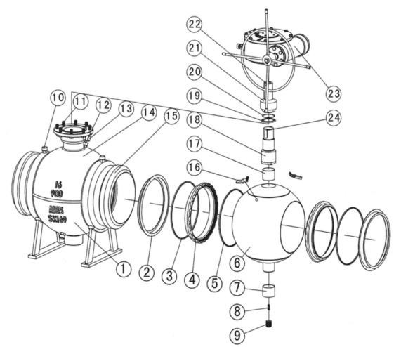 阀门结构示意图(铸钢)